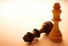 Two Wooden King Chess Pieces Royalty Free Stock Photos