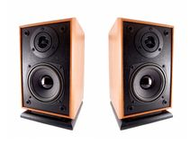 Two wooden loud speakers Stock Photo