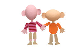 Two wooden marionettes. Symbolical friendship on an example of two wooden marionettes Royalty Free Stock Images
