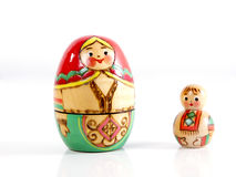 Two wooden nesting dolls. Mother and son Royalty Free Stock Image