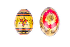 Two wooden painted Easter eggs Stock Photography