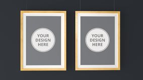 Two wooden Photo Frames Mockup. High resolution 3d render. Personal branding mockup template Stock Photos