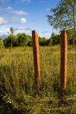 Two wooden pillar in the meadow Royalty Free Stock Photos