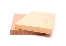 Two wooden plank close-up. Are located on the white background Royalty Free Stock Image