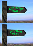 Country walk hiking trail signs Stock Image