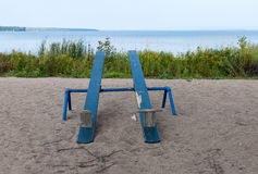 Two wooden seesaws Stock Image