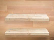Two wooden shelves Stock Photos