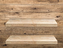 Two wooden shelves Royalty Free Stock Images