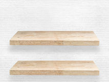 Two wooden shelves Royalty Free Stock Photos