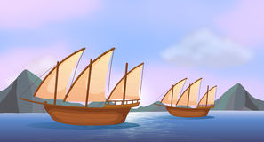 Two wooden ships in the ocean. Illustration of the two wooden ships in the ocean stock illustration