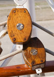 Two wooden snatch block Stock Image