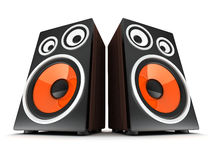 Two wooden speaker Stock Photography