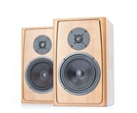 Two wooden speakers isolated on white background Stock Photography