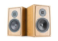 Two wooden speakers isolated on white background. File contains a path to isolation. Stock Images