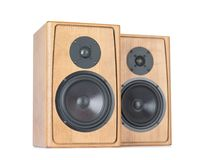 Two wooden speakers isolated on white background. File contains a path to isolation. Stock Photos