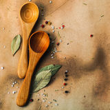 Two wooden spoons Stock Photos