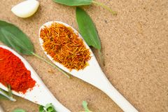 Set of spices and herbs on a corkwood. Two wooden spoons with dry spices and fresh herbs on a corkwood background with copy space, top view, close up Royalty Free Stock Photography