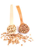 Two wooden spoons with pistachios Stock Photos