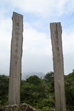 Two wooden steles at the Wisdom Path in Hong Kong. Two wooden steles with texts in Chinese at the Wisdom Path on the Lantau Island in Hong Kong, China Royalty Free Stock Images