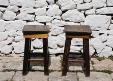 Two Wooden Stools Royalty Free Stock Photos