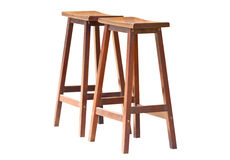 Two Of Wooden Stools. Royalty Free Stock Photography