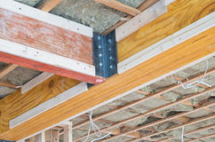 Two wooden supporting beams Stock Images