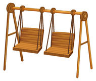 Two wooden swings on white Stock Photo