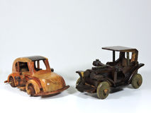Two Wooden Toy Car. Isolated on White Royalty Free Stock Photos