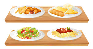 Two wooden trays with four plates full of foods. Illustration of the two wooden trays with four plates full of foods on a white background Stock Image