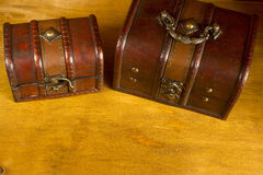 Two wooden treasure chests Royalty Free Stock Photos