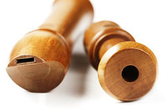 Two wooden treble flutes Royalty Free Stock Photos