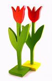 Two wooden tulips Stock Photos