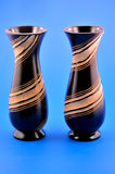 Two wooden vases Royalty Free Stock Photo