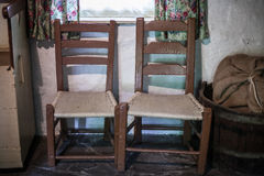 Two Wooden Vintage Chairs Stock Image