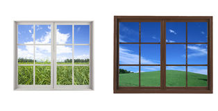 Two wooden window with landscape view Royalty Free Stock Image