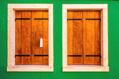 Two wooden windows Royalty Free Stock Photo