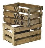 Two wooden wine crates Royalty Free Stock Images