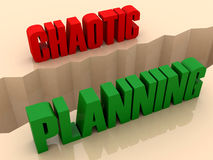 Two words CHAOTIC and PLANNING split on sides, separation crack. Royalty Free Stock Images