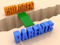 Two words Children and Parents united by bridge through separation crack. Stock Photography