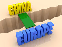 Two words CHINA and EUROPE united by bridge through separation crack. Royalty Free Stock Photo