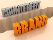 Two words COUNTERFEIT and BRAND split on sides, separation crack. Royalty Free Stock Photography