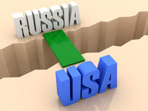 Two words RUSSIA and USA united by bridge through separation crack. Stock Photography