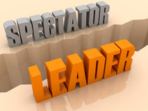 Two words SPECTATOR and LEADER split on sides, separation crack. Royalty Free Stock Photo