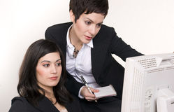Two Women at Work Professional Office Computer Royalty Free Stock Photography