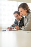 Two work colleagues analysing information Royalty Free Stock Image