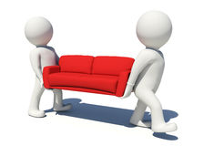 Two worker carrying red couch. Isolated Royalty Free Stock Images