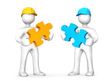 Two Worker Puzzles Stock Image