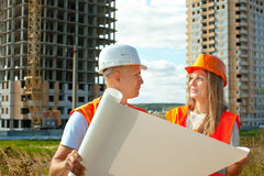 Two workers on the building site Stock Photo