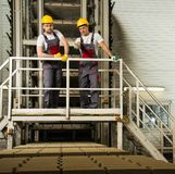 Two workers on a factory Royalty Free Stock Image