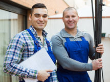 Two workers at factory Royalty Free Stock Photo